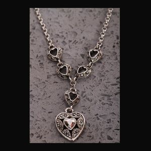 Cookie Lee Silvertone Necklace with Hearts